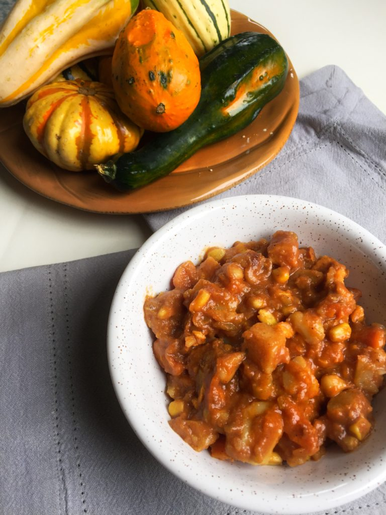 This root vegetable stew is made with potato, carrot, sweet potato, and corn.